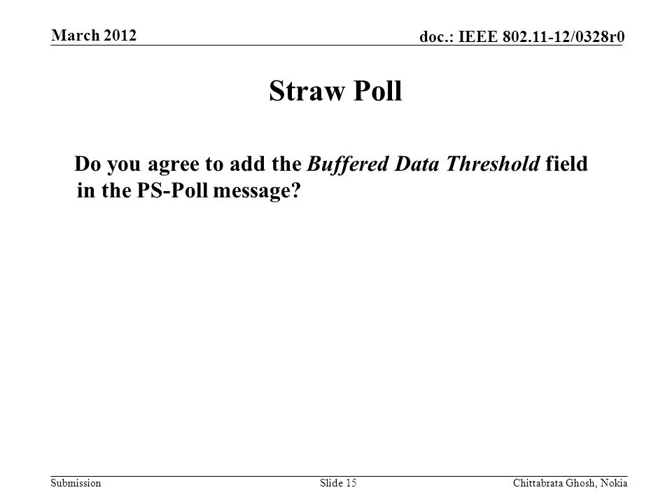 Submission doc.: IEEE /0328r0 Nokia Internal Use Only Straw Poll Do you agree to add the Buffered Data Threshold field in the PS-Poll message.
