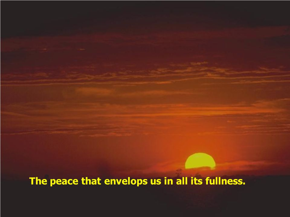 The peace that envelops us in all its fullness.