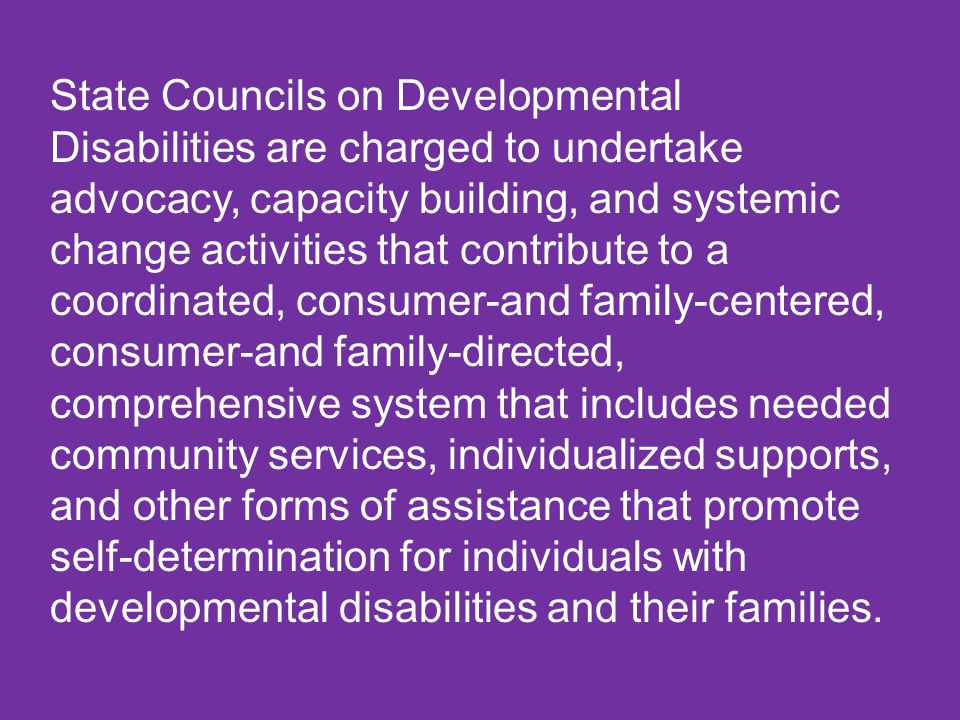 State Councils on Developmental Disabilities are charged to undertake advocacy, capacity building, and systemic change activities that contribute to a coordinated, consumer-and family-centered, consumer-and family-directed, comprehensive system that includes needed community services, individualized supports, and other forms of assistance that promote self-determination for individuals with developmental disabilities and their families.