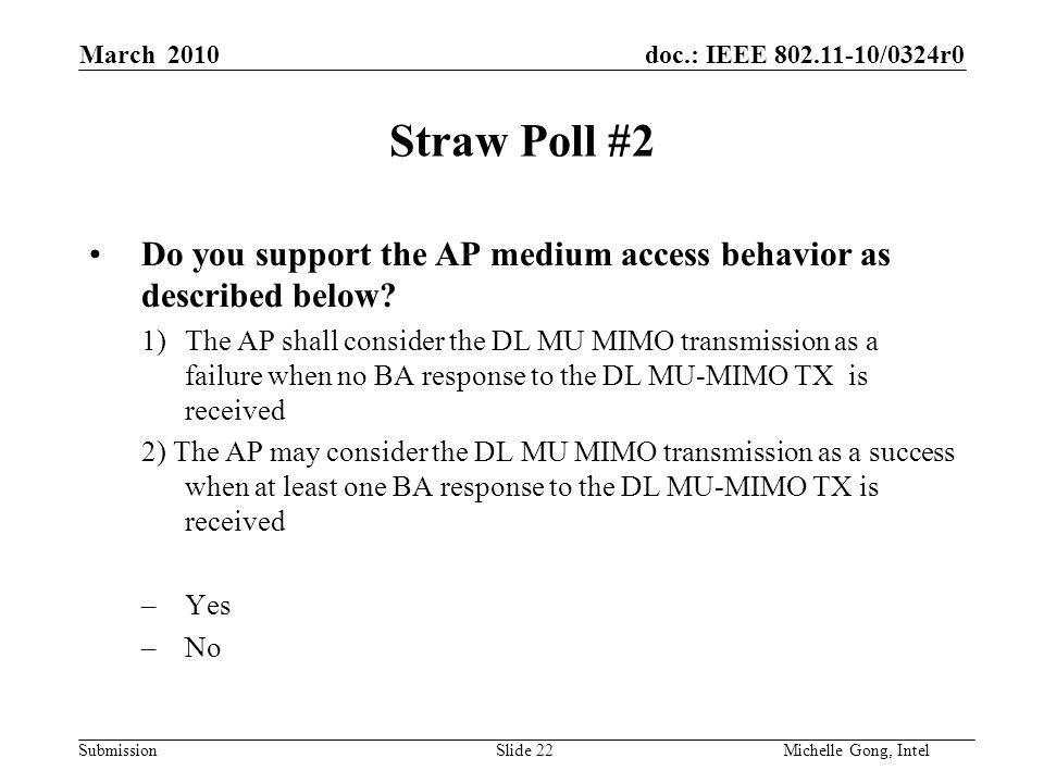doc.: IEEE /0324r0 Submission Slide 22Michelle Gong, Intel March 2010 Straw Poll #2 Do you support the AP medium access behavior as described below.