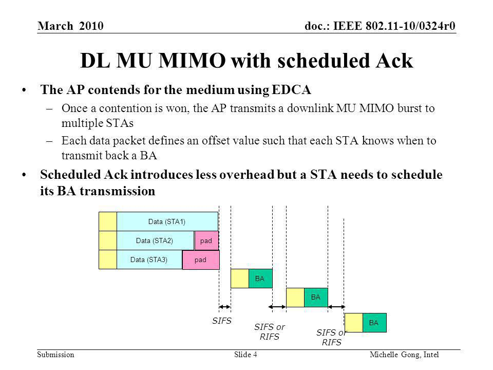 doc.: IEEE /0324r0 Submission Slide 4Michelle Gong, Intel March 2010 DL MU MIMO with scheduled Ack The AP contends for the medium using EDCA –Once a contention is won, the AP transmits a downlink MU MIMO burst to multiple STAs –Each data packet defines an offset value such that each STA knows when to transmit back a BA Scheduled Ack introduces less overhead but a STA needs to schedule its BA transmission Data (STA1) Data (STA3) BA Data (STA2) BA SIFS SIFS or RIFS pad