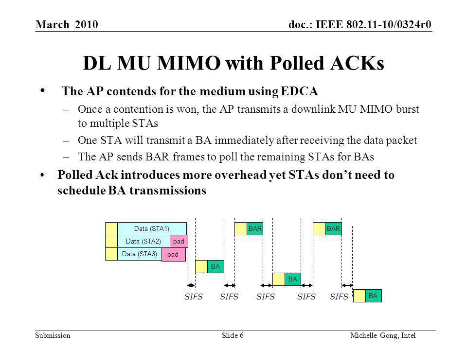 doc.: IEEE /0324r0 Submission Slide 6Michelle Gong, Intel March 2010 DL MU MIMO with Polled ACKs The AP contends for the medium using EDCA –Once a contention is won, the AP transmits a downlink MU MIMO burst to multiple STAs –One STA will transmit a BA immediately after receiving the data packet –The AP sends BAR frames to poll the remaining STAs for BAs Polled Ack introduces more overhead yet STAs don't need to schedule BA transmissions Data (STA1) Data (STA3) BA Data (STA2) BA BAR SIFS pad