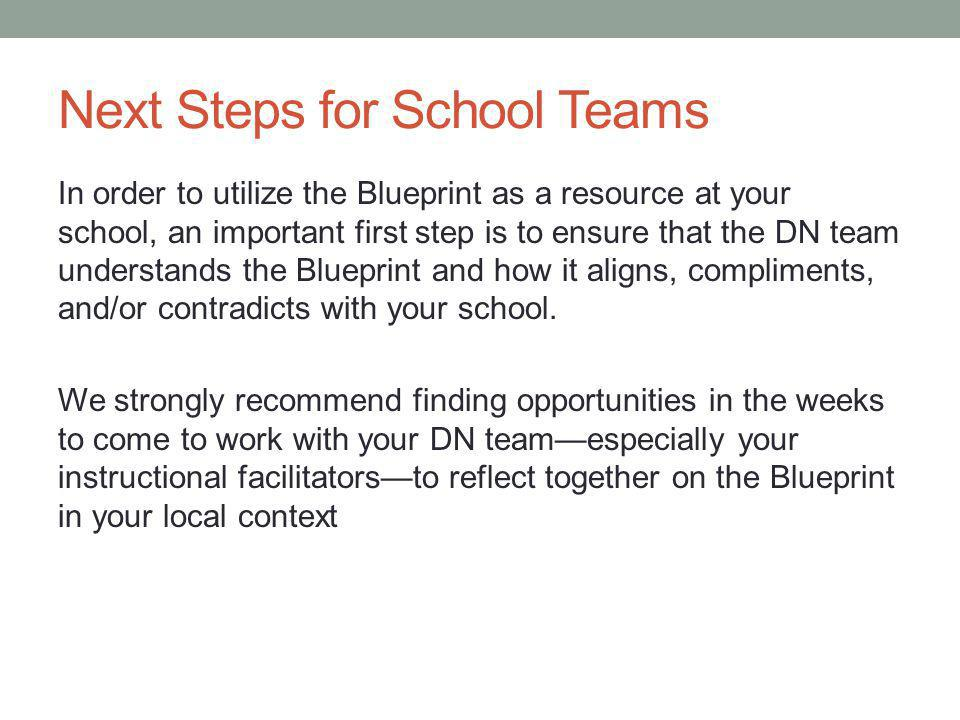 Next Steps for School Teams In order to utilize the Blueprint as a resource at your school, an important first step is to ensure that the DN team understands the Blueprint and how it aligns, compliments, and/or contradicts with your school.