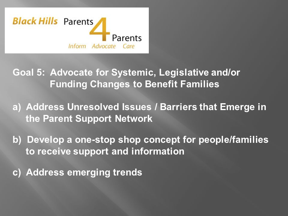 Goal 5: Advocate for Systemic, Legislative and/or Funding Changes to Benefit Families a) Address Unresolved Issues / Barriers that Emerge in the Parent Support Network b) Develop a one-stop shop concept for people/families to receive support and information c) Address emerging trends