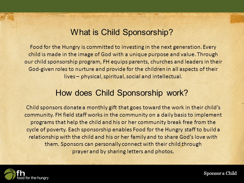 Sponsor a Child What is Child Sponsorship.