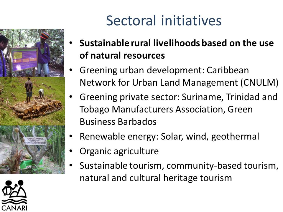 Sectoral initiatives Sustainable rural livelihoods based on the use of natural resources Greening urban development: Caribbean Network for Urban Land Management (CNULM) Greening private sector: Suriname, Trinidad and Tobago Manufacturers Association, Green Business Barbados Renewable energy: Solar, wind, geothermal Organic agriculture Sustainable tourism, community-based tourism, natural and cultural heritage tourism