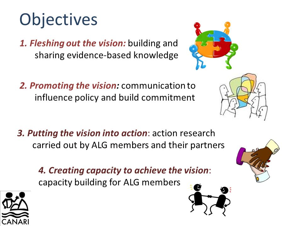 Objectives 1. Fleshing out the vision: building and sharing evidence-based knowledge 2.