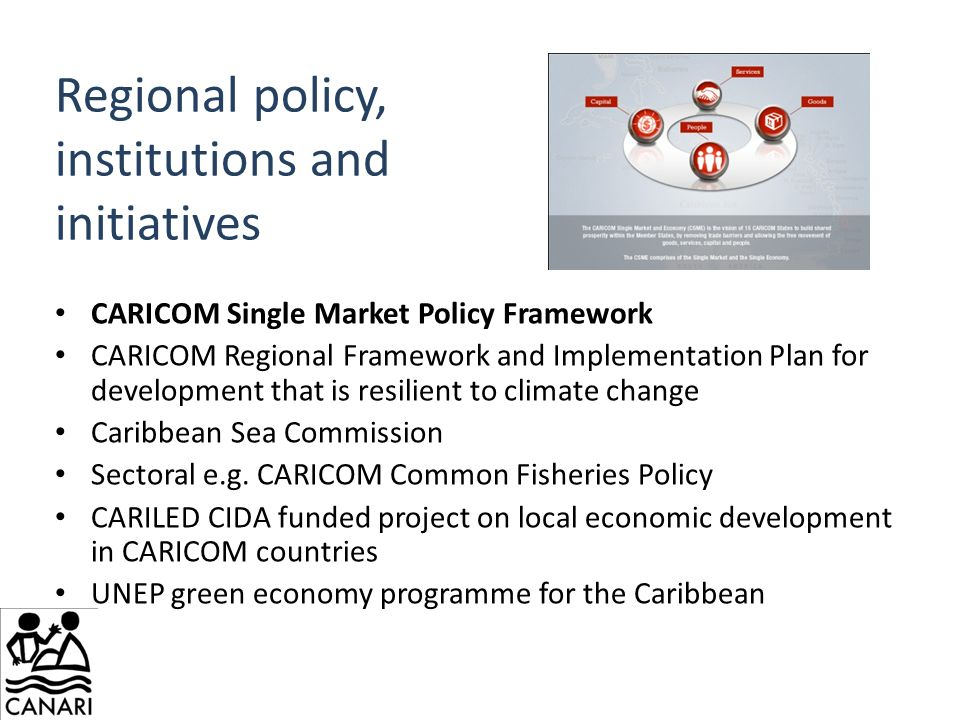 Regional policy, institutions and initiatives CARICOM Single Market Policy Framework CARICOM Regional Framework and Implementation Plan for development that is resilient to climate change Caribbean Sea Commission Sectoral e.g.