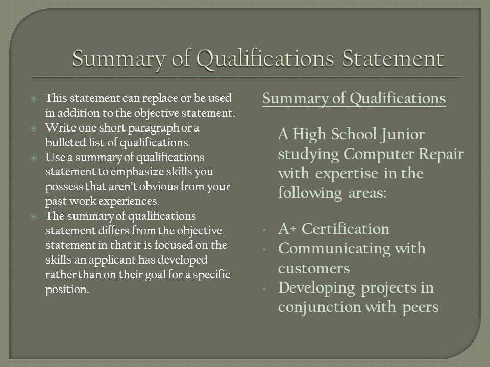 summary of qualifications statement