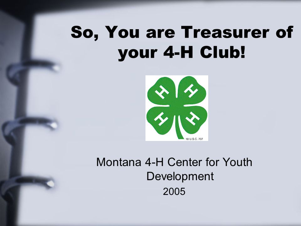 So, You are Treasurer of your 4-H Club! Montana 4-H Center for Youth Development 2005
