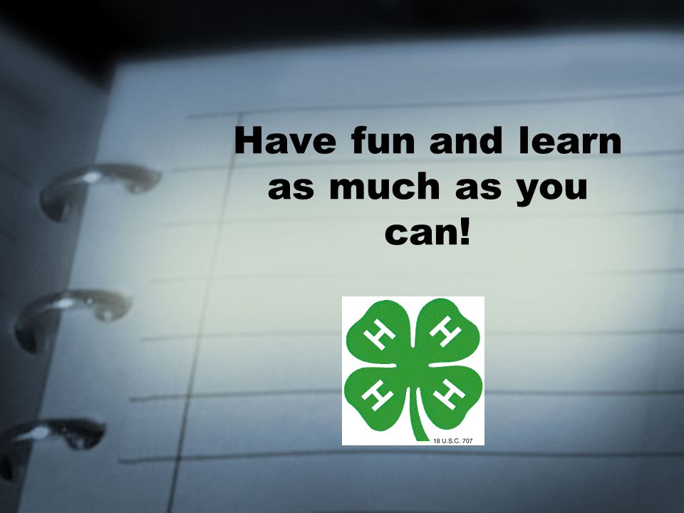 Have fun and learn as much as you can!