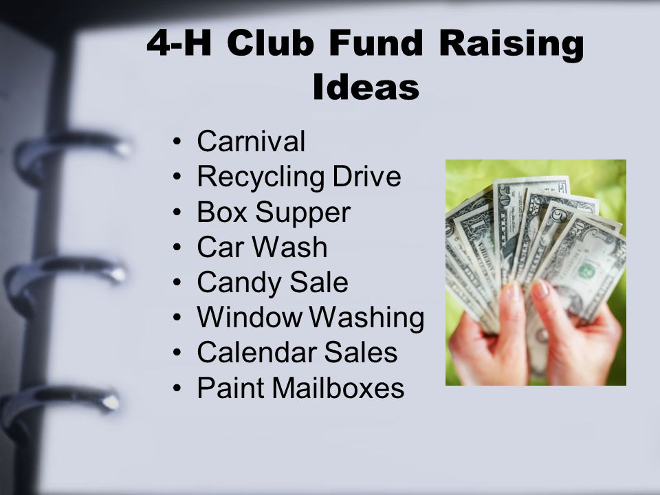 4-H Club Fund Raising Ideas Carnival Recycling Drive Box Supper Car Wash Candy Sale Window Washing Calendar Sales Paint Mailboxes