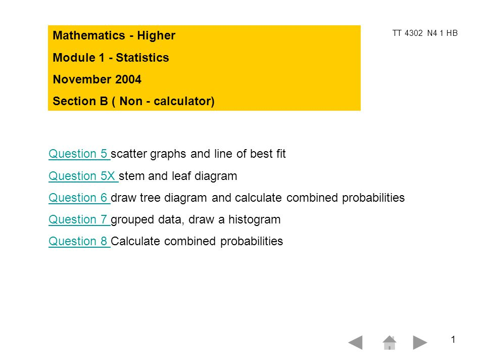 Tt 4302 N4 1 Hb 1 Mathematics Higher Module 1 Statistics