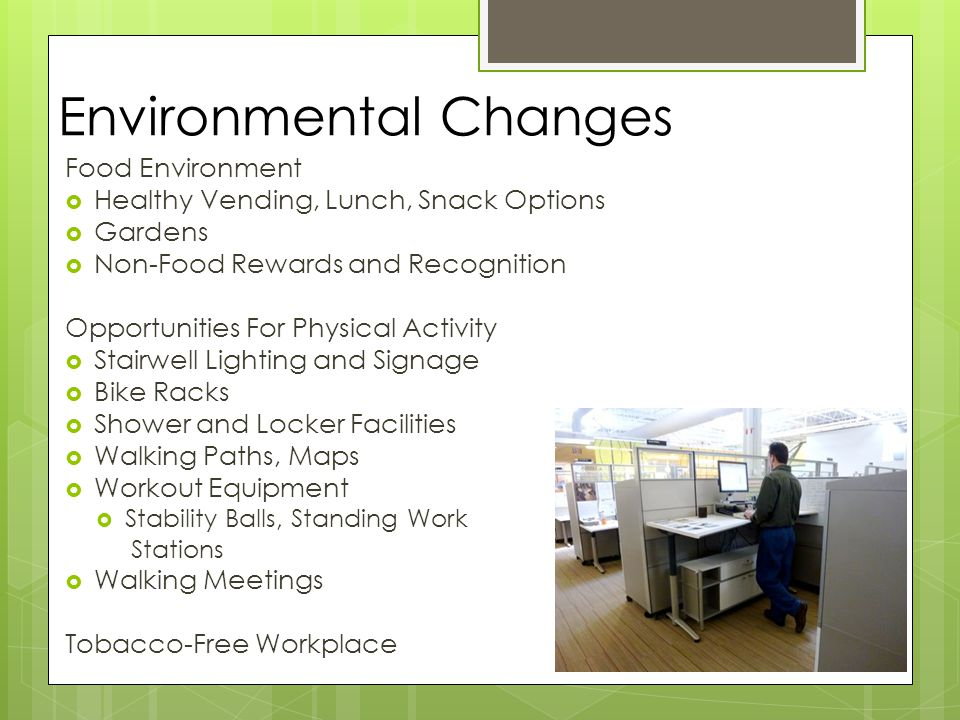 Environmental Changes Food Environment  Healthy Vending, Lunch, Snack Options  Gardens  Non-Food Rewards and Recognition Opportunities For Physical Activity  Stairwell Lighting and Signage  Bike Racks  Shower and Locker Facilities  Walking Paths, Maps  Workout Equipment  Stability Balls, Standing Work Stations  Walking Meetings Tobacco-Free Workplace