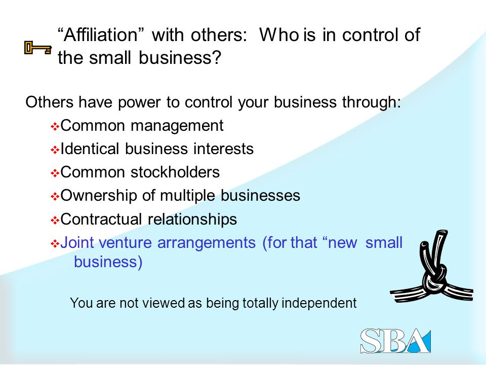 Affiliation with others: Who is in control of the small business.