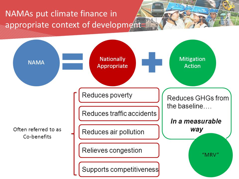 Nationally Appropriate Mitigation Action NAMA Supports competitiveness Reduces traffic accidents Reduces air pollution Relieves congestion Reduces GHGs from the baseline….