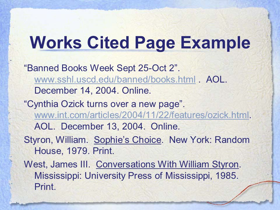 work cited page example