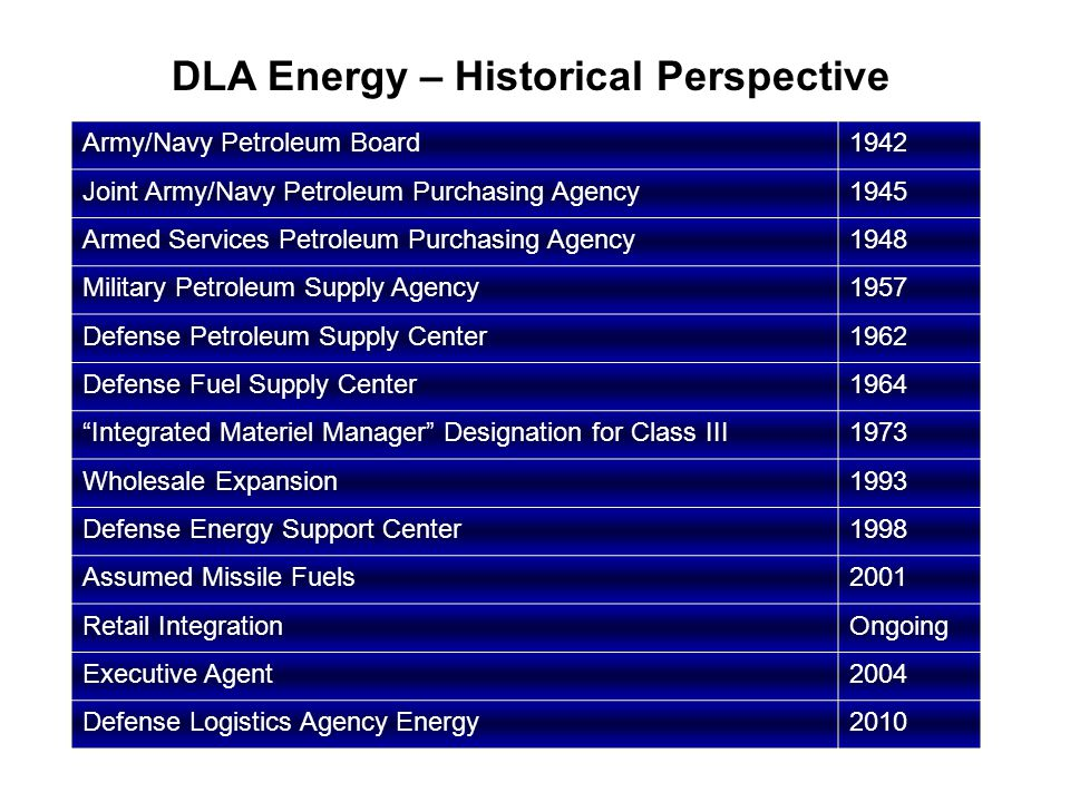 DLA Energy – Historical Perspective Army/Navy Petroleum Board1942 Joint Army/Navy Petroleum Purchasing Agency1945 Armed Services Petroleum Purchasing Agency1948 Military Petroleum Supply Agency1957 Defense Petroleum Supply Center1962 Defense Fuel Supply Center1964 Integrated Materiel Manager Designation for Class III1973 Wholesale Expansion1993 Defense Energy Support Center1998 Assumed Missile Fuels2001 Retail IntegrationOngoing Executive Agent2004 Defense Logistics Agency Energy2010