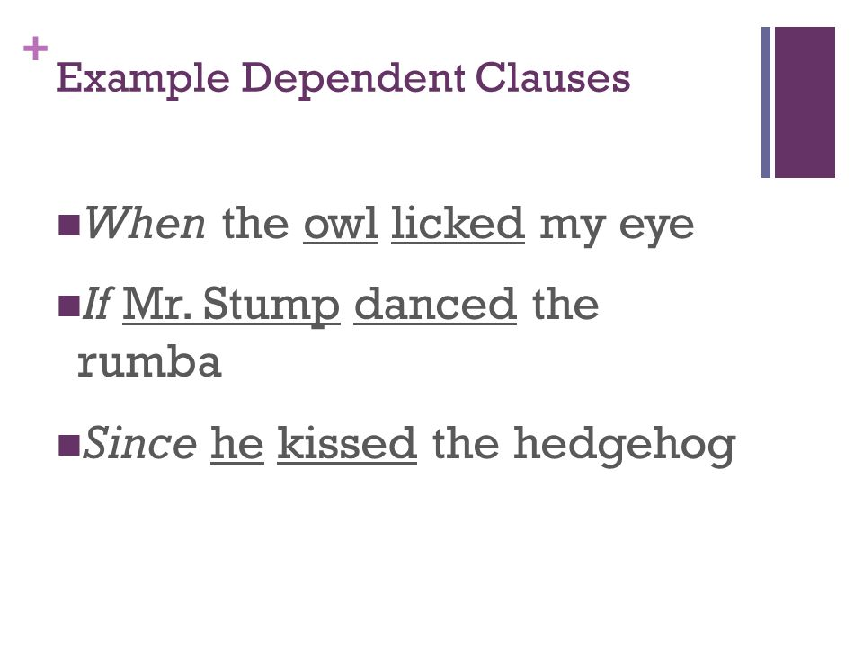 + Example Dependent Clauses When the owl licked my eye If Mr.