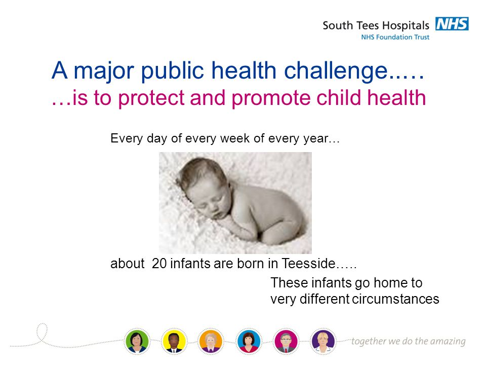 A major public health challenge..… …is to protect and promote child health Every day of every week of every year… about 20 infants are born in Teesside…..