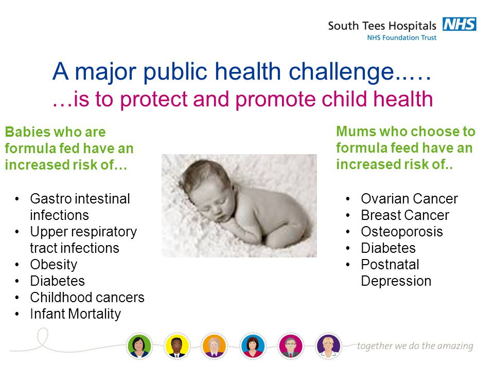 A major public health challenge..… …is to protect and promote child health Babies who are formula fed have an increased risk of… Gastro intestinal infections Upper respiratory tract infections Obesity Diabetes Childhood cancers Infant Mortality Mums who choose to formula feed have an increased risk of..