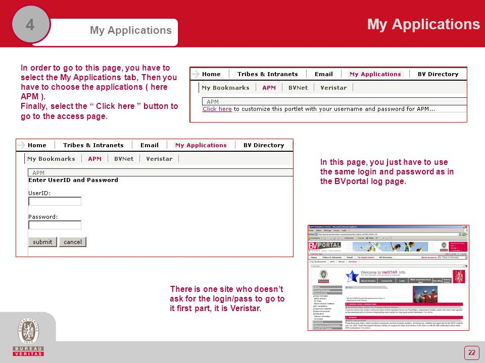 22 My Applications 4 In order to go to this page, you have to select the My Applications tab, Then you have to choose the applications ( here APM ).