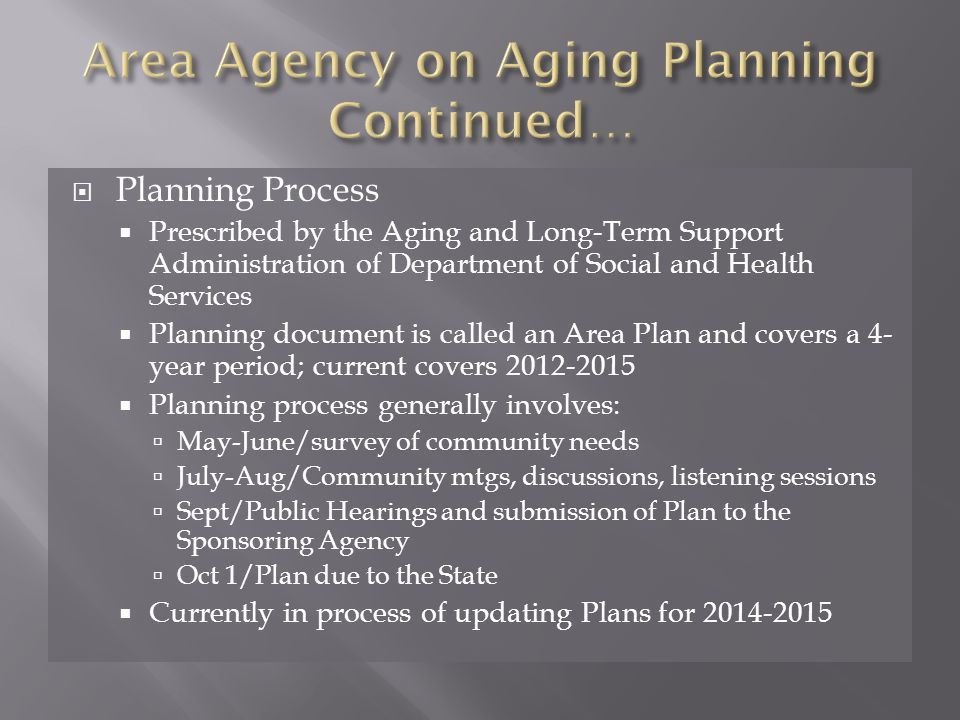  Planning Process  Prescribed by the Aging and Long-Term Support Administration of Department of Social and Health Services  Planning document is called an Area Plan and covers a 4- year period; current covers  Planning process generally involves:  May-June/survey of community needs  July-Aug/Community mtgs, discussions, listening sessions  Sept/Public Hearings and submission of Plan to the Sponsoring Agency  Oct 1/Plan due to the State  Currently in process of updating Plans for