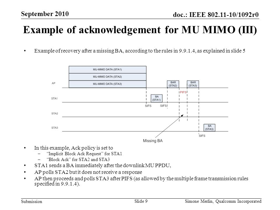 Slide 9 doc.: IEEE /1092r0 Submission Simone Merlin, Qualcomm Incorporated September 2010 Example of acknowledgement for MU MIMO (III) Example of recovery after a missing BA, according to the rules in , as explained in slide 5 In this example, Ack policy is set to – Implicit Block Ack Request for STA1 – Block Ack for STA2 and STA3 STA1 sends a BA immediately after the downlink MU PPDU, AP polls STA2 but it does not receive a response AP then proceeds and polls STA3 after PIFS (as allowed by the multiple frame transmission rules specified in ).