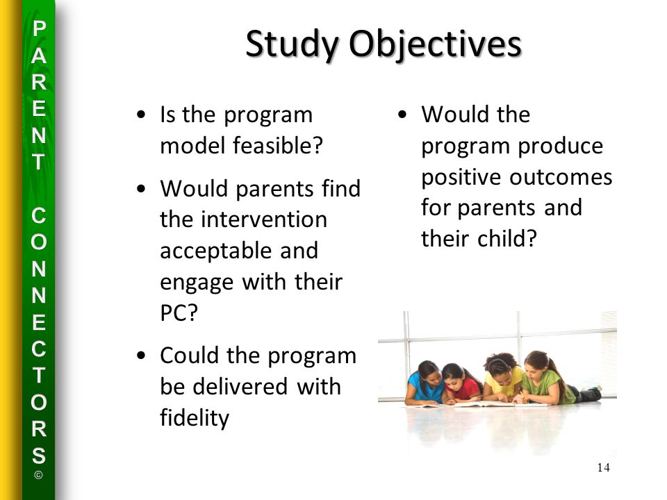 Study Objectives Is the program model feasible.