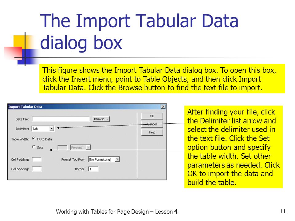 11 Working with Tables for Page Design – Lesson 4 The Import Tabular Data dialog box This figure shows the Import Tabular Data dialog box.