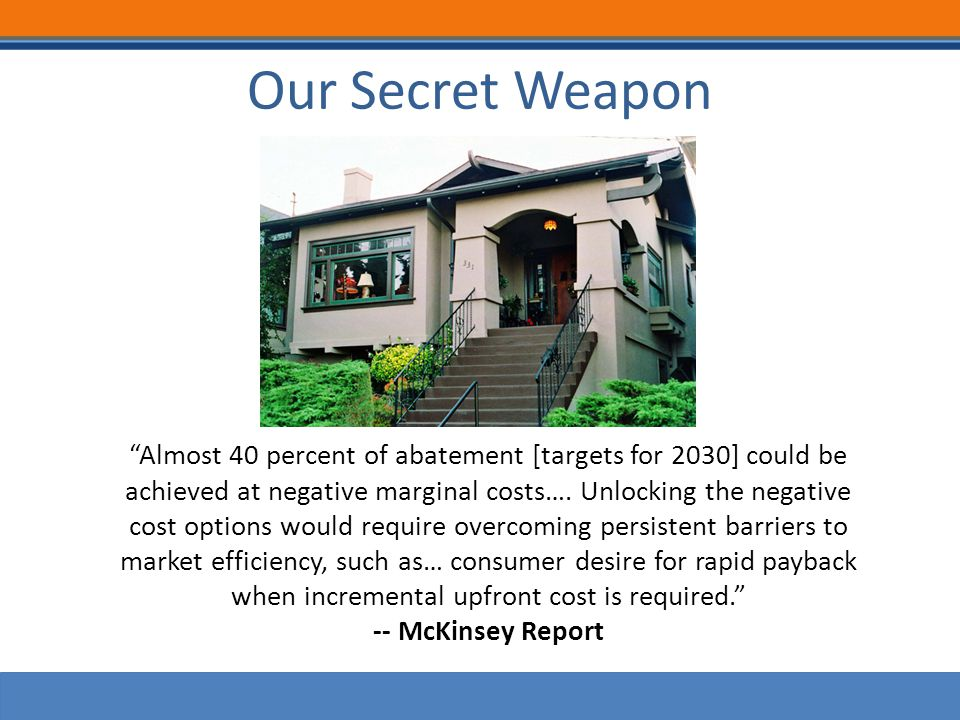 Our Secret Weapon Almost 40 percent of abatement [targets for 2030] could be achieved at negative marginal costs….