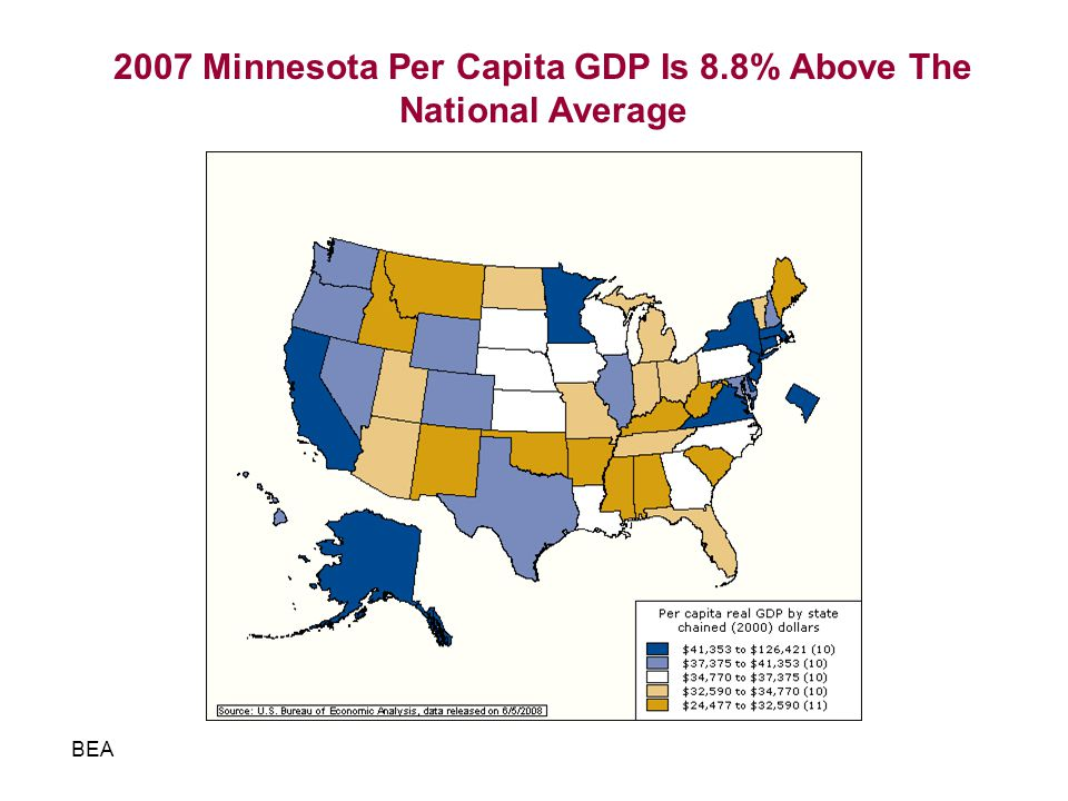 2007 Minnesota Per Capita GDP Is 8.8% Above The National Average BEA