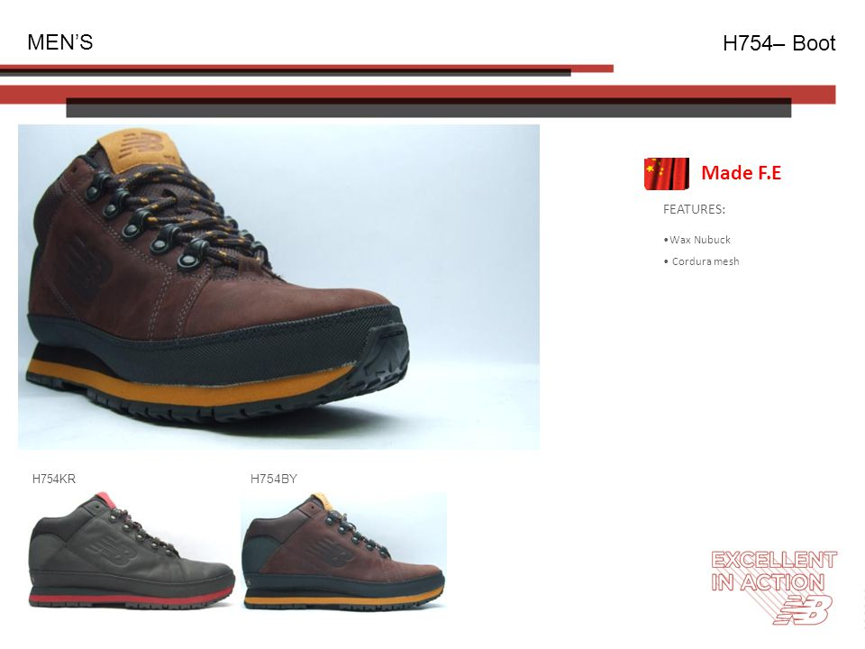FEATURES: Wax Nubuck Cordura mesh MEN'S H754– Boot H754KR H754BY Made F.E