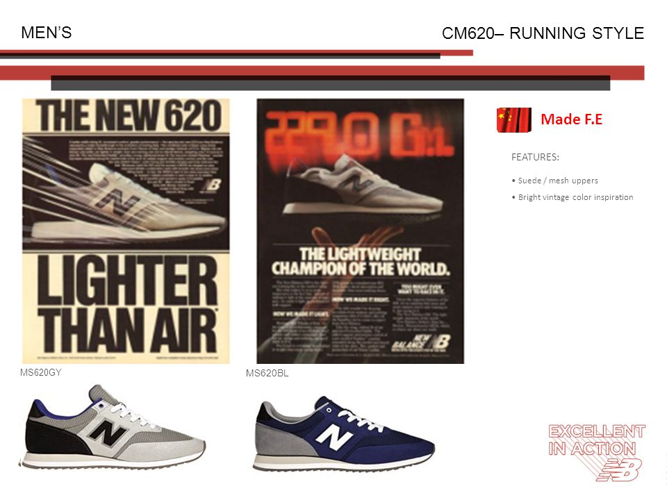 FEATURES: Suede / mesh uppers Bright vintage color inspiration MEN'S CM620– RUNNING STYLE MS620GY MS620BL Made F.E
