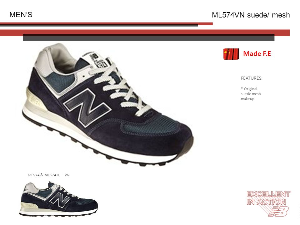 FEATURES: * Original suede mesh makeup MEN'S ML574VN suede/ mesh Made F.E ML574 & ML574TE VN