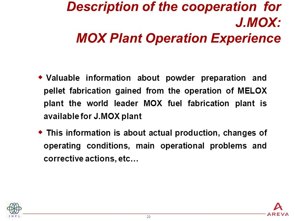 20 Description of the cooperation for J.MOX: MOX Plant Operation Experience  Valuable information about powder preparation and pellet fabrication gained from the operation of MELOX plant the world leader MOX fuel fabrication plant is available for J.MOX plant  This information is about actual production, changes of operating conditions, main operational problems and corrective actions, etc…
