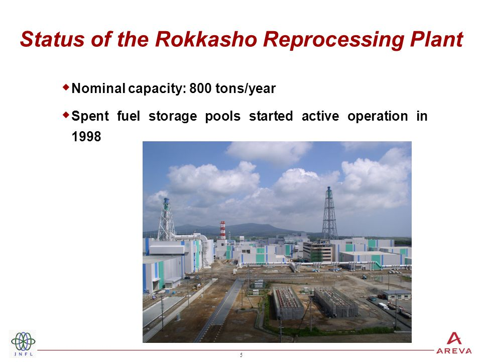 5 5 Status of the Rokkasho Reprocessing Plant  Nominal capacity: 800 tons/year  Spent fuel storage pools started active operation in 1998