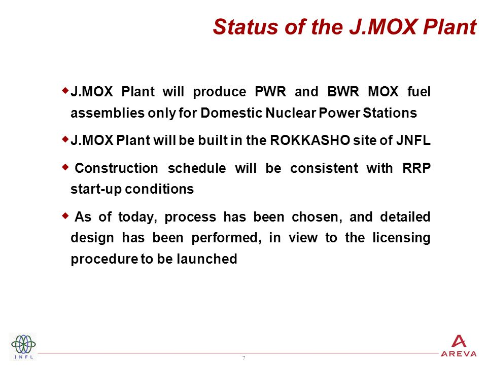 7 7 Status of the J.MOX Plant  J.MOX Plant will produce PWR and BWR MOX fuel assemblies only for Domestic Nuclear Power Stations  J.MOX Plant will be built in the ROKKASHO site of JNFL  Construction schedule will be consistent with RRP start-up conditions  As of today, process has been chosen, and detailed design has been performed, in view to the licensing procedure to be launched