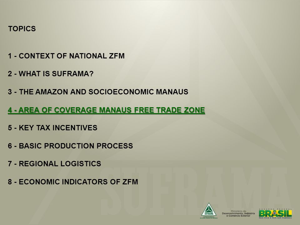 4 - AREA OF COVERAGE MANAUS FREE TRADE ZONE TOPICS 1 - CONTEXT OF NATIONAL ZFM 2 - WHAT IS SUFRAMA.