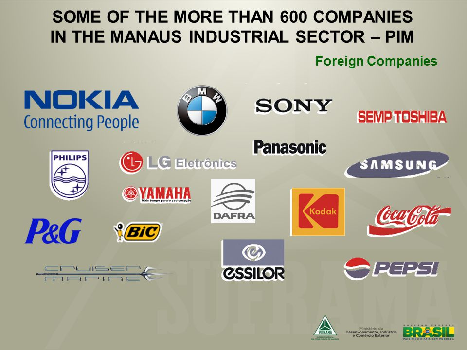 SOME OF THE MORE THAN 600 COMPANIES IN THE MANAUS INDUSTRIAL SECTOR – PIM Foreign Companies