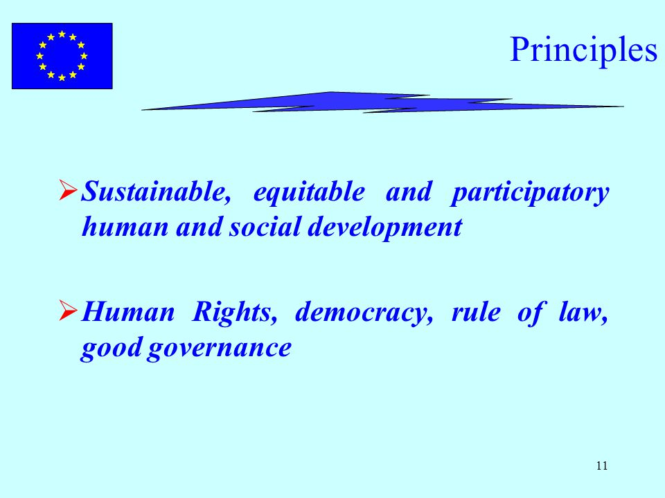 11 Principles  Sustainable, equitable and participatory human and social development  Human Rights, democracy, rule of law, good governance