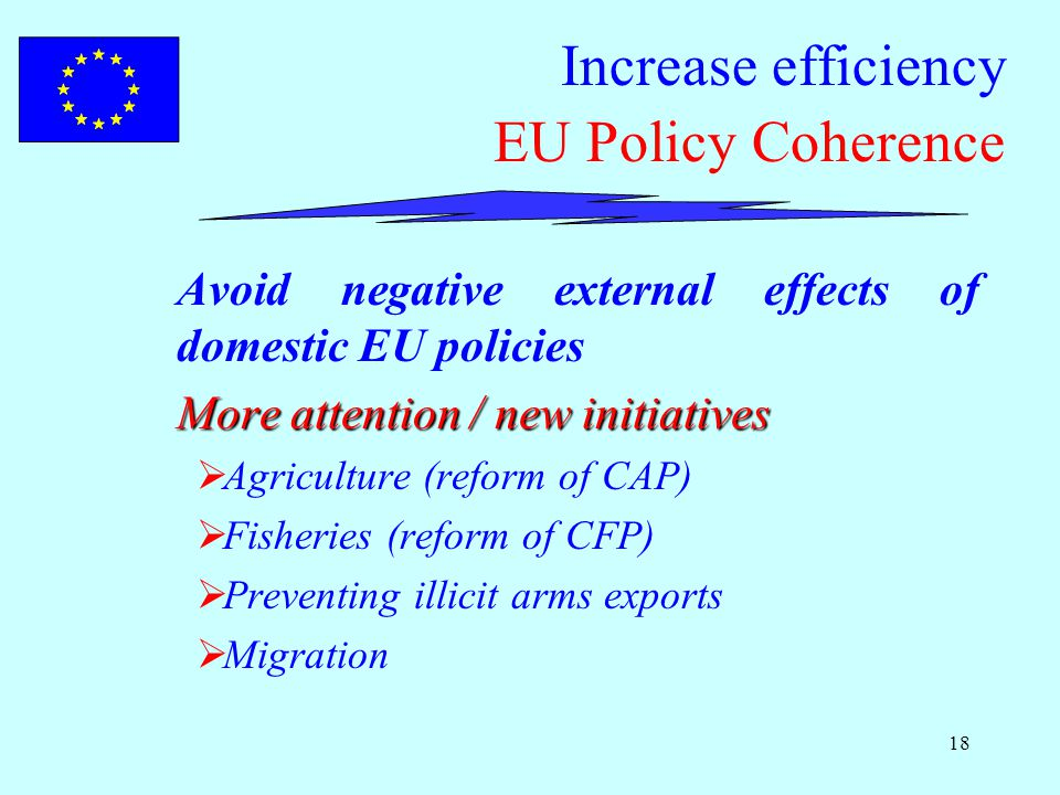 18 Increase efficiency EU Policy Coherence Avoid negative external effects of domestic EU policies More attention / new initiatives  Agriculture (reform of CAP)  Fisheries (reform of CFP)  Preventing illicit arms exports  Migration