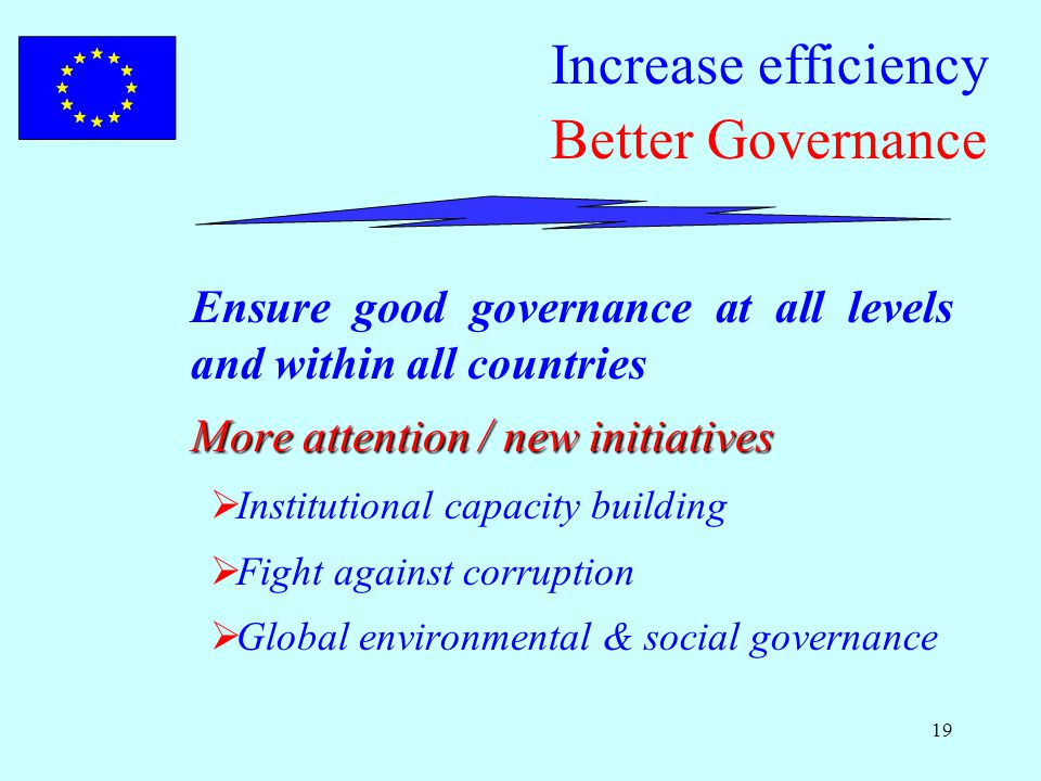 19 Increase efficiency Better Governance Ensure good governance at all levels and within all countries More attention / new initiatives  Institutional capacity building  Fight against corruption  Global environmental & social governance