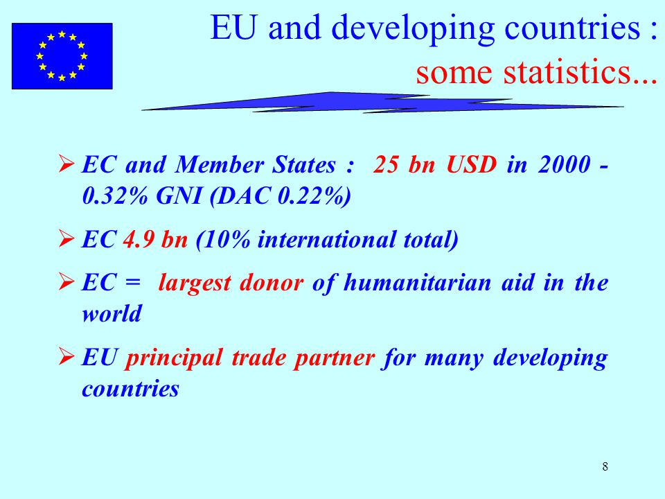 8 EU and developing countries : some statistics...