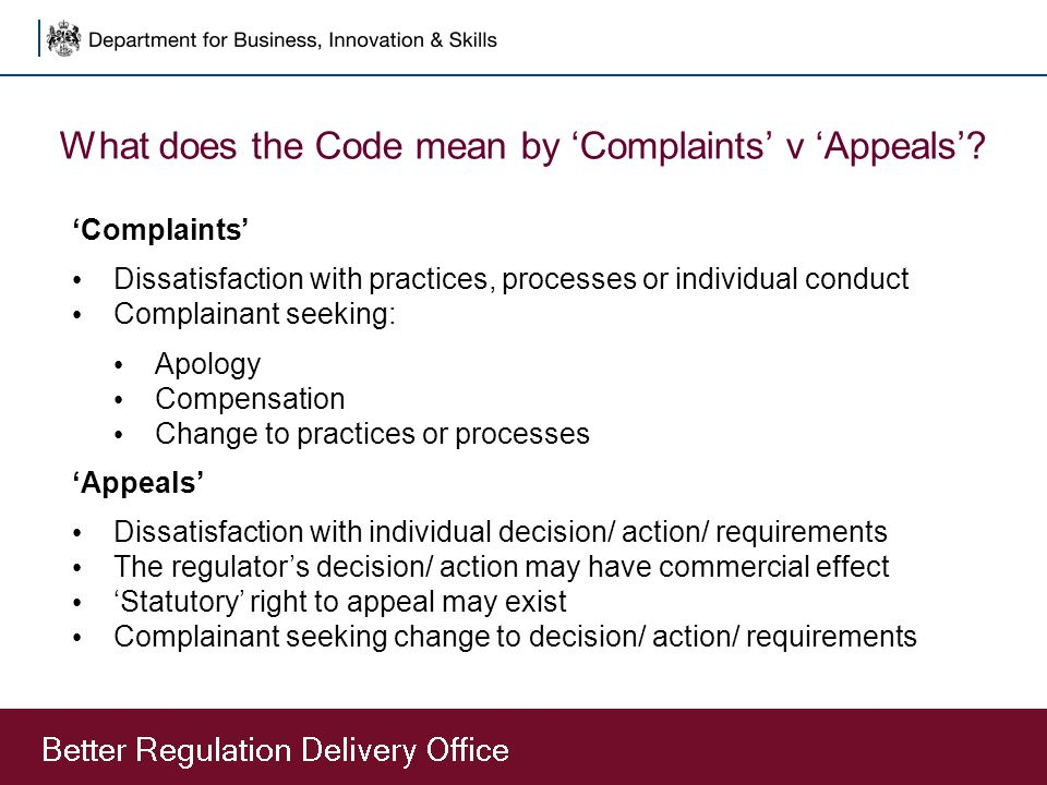 What does the Code mean by 'Complaints' v 'Appeals'.