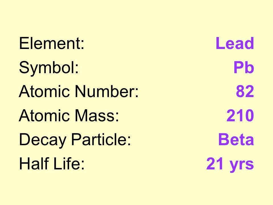 Uranium 238 Decay Series Element Symbol Atomic Number Atomic
