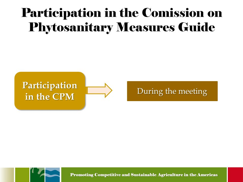 Promoting Competitive and Sustainable Agriculture in the Americas Participation in the Comission on Phytosanitary Measures Guide Participation in the CPM During the meeting