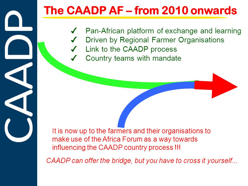 PARTNERSHIPS IN SUPPORT OF CAADP ✔ Pan-African platform of exchange and learning ✔ Driven by Regional Farmer Organisations ✔ Link to the CAADP process ✔ Country teams with mandate It is now up to the farmers and their organisations to make use of the Africa Forum as a way towards influencing the CAADP country process !!.