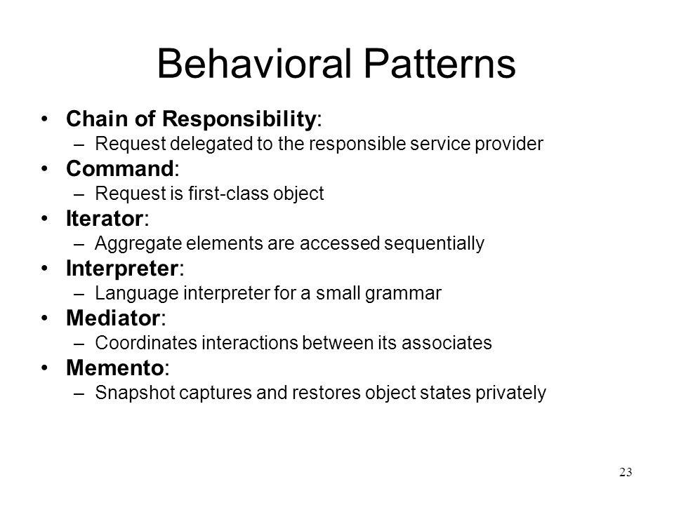 40 Software Design Patterns Department Of Computer Science Kent State Delectable Behavioral Patterns