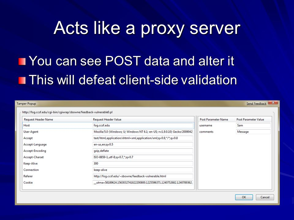 Acts like a proxy server You can see POST data and alter it This will defeat client-side validation